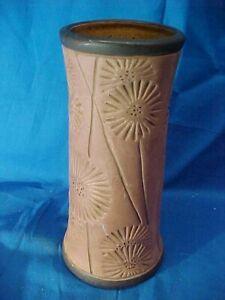 """Vintage WELLER POTTERY Arts + Crafts BURNT WOOD Pattern 7"""" VASE w Incised FLOWER"""
