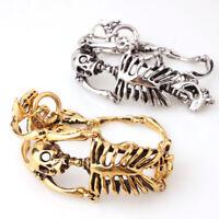 """Cool Bracelet for Men Silver/Gold Vintage Stainless Steel Skeleton Bangle 8.26"""""""