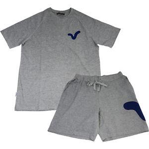 Mens 2pce Marl Grey Top & Shorts Pyjama Set Father's Day Christmas Stocking
