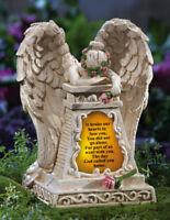 Solar Weeping Angel Memorial Garden Stone Statue Grave Cemetery Beloved Departed