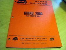 Servis Rhino 2000 Rear Mounted Blade Parts Manual Catalog List Book