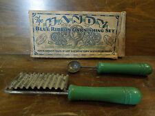 Vintage Green Handle Handy Blue Ribbon Garnishing Set Tool With Original Box