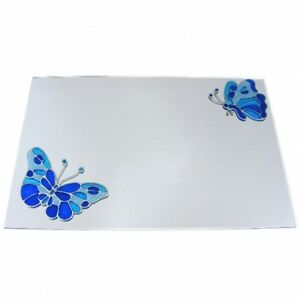 Stained Glass Effect Blue Butterflies Acrylic Mirror (Several Sizes Available)