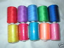 10 x 1000mtr Polyester Sewing Machine Overlock Thread Bright Pack
