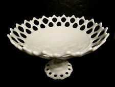 Elegant Pierced Reticulated Westmoreland Pedestal Milk Glass Compote Cake Stand