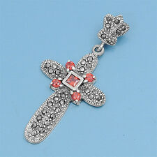 Cross with Marcasite & Garnet CZ Pendant Sterling Silver 925 Catholic Jewelry