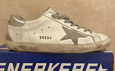 Mens' Golden Goose White Superstar Silver Metal Leather Trainers Size 43