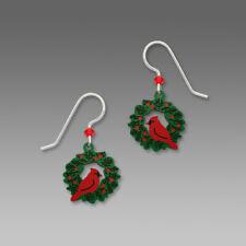 Sienna Sky CARDINAL ON WREATH Earrings STERLING Silver Christmas Bird 1645