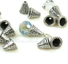 Hammertone Bead Cones, Bead Caps, TierraCast, Antiqued Pewter, 6 Pieces, 8440