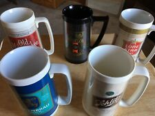Lot of (5) Vintage Thermo-Serv Insulated Plastic Beer Mugs Made in Usa 1970's