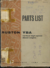 Ruston YBA vertical high speed diesel engine parts list 9518