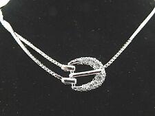 """Signed Swarovski Necklace Buckle Pave Crystal 14.5 - 16.5"""" N428"""
