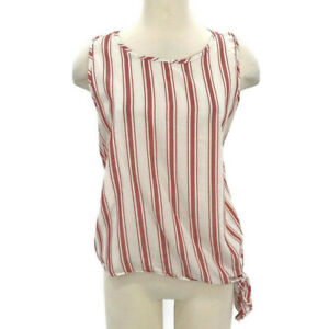 Madewell Side-Tie Tank Top Marcia Stripe Red Cotton Blouse Women's Size XL