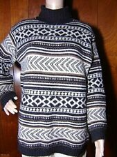 BENETTON Italy Large Vintage Thick Gray Fair Isle Nordic Wool Turtleneck Sweater