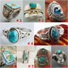 Wholesale Handmade 925 Silver Turquoise Ring Women Men Vintage Jewelry