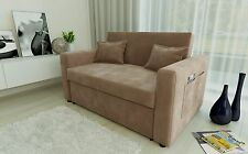 RAVENA 2 Seat Sofa Bed Taupe Fabric Click Clack Pull out Living Room Sofabed