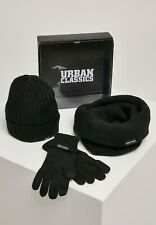 Urban Classics Set Winter Scarf Hat Gloves Man Woman