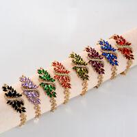 Fashion Women Jewelry 18k Yellow Gold Plated Shiny Crystal Bracelet Bangle Chain