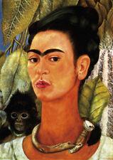 Self-portrait with the Monkey - F.Kahlo A4 21x29.7cm Canvas Art Print Unframed