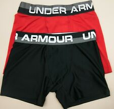 NEW UNDER ARMOUR Boys' Solid Performance Boxer Briefs 2 Pack S/8 BLACK RED