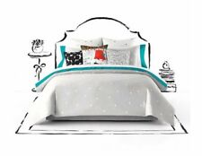 New! Kate Spade New York Polka Deco Dot Full Queen Size Comforter Set Gray White