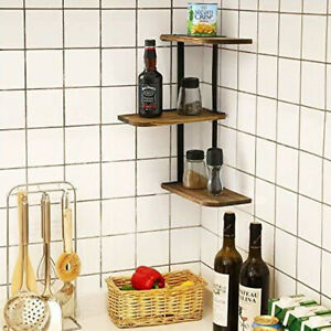 Retro 3 Tier Adjustable Corner Shelf Wall Shelves Storage Rack Kitchen Bathroom