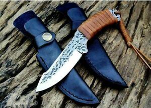 Drop Point Knife Hunting Combat Hand Forged Carbon Steel Leather Wrapped Handle