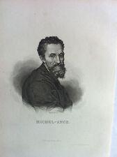 MICHEL ANGE portrait GRAVURE originale XIXème