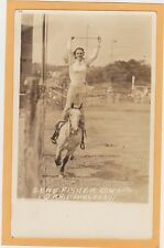 Real Photo Postcard RPPC  - Rodeo Cowgirl Gene Fisher - Doubleday Photo