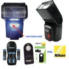 TTL FULL AUTO FLASH + LED LIGHT +REMOTE + RECHAR BATTERIES FOR NIKON D7100 D7200