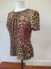 Dolce & Gabbana  size 42 / 10 silk animal print top with black lace detail class