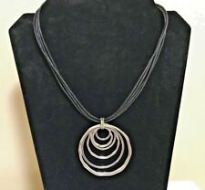 Necklace Jewelry Leather Silver Pendant Wow! Signed Jny Jones New York Statement