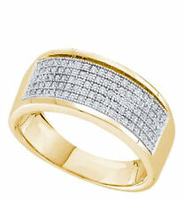 Yellow Gold over Sterling Silver Ladies Diamond Band 6 Row Micro Pave