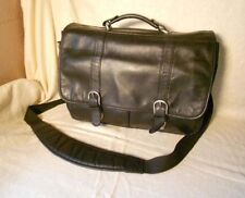 WILSONS  Black Leather   BRIEFCASE  Messenger Sling BAG  Mens