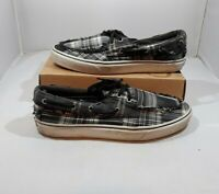 Vans Black Gray Plaid Men's Shoes Sz 12 Canvas Slip On Casual Skateboard Sneaker