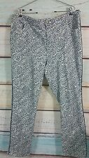 Coldwater Creek Classic Fit White Gray Blue  Dots Geo Print Sz 20