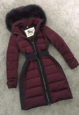 Vac Untl 9/30 BURBERRY Purple / Bordeaux Women's Paneled Down Coat w/Fox Fur XS