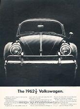1962 VW Volkswagen Beetle Bug Face- Original Advertisement Print Art Car Ad J661