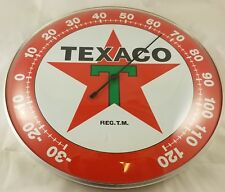 TEXACO RED STAR GREEN LETTER T GASOLINE OIL ROUND DOME ADVERTISING THERMOMETER