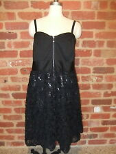 CITY CHIC LADIES SIZE S 16 STUNNING BLACK TEXTURED FLORAL SEQUINS DRESS EVENING