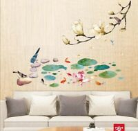 Wall Sticker Magnolia Lotus Flower Living Room Lobby Home Decor Decal Bedroom