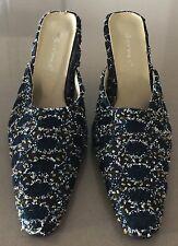 Retro Gem Black, Silver & Gold Textured Embellished Fabric Mule Heels Size 36
