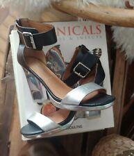 NEW Jeffrey Campbell Black Silver Clear Soiree Leather Sandals 9.5