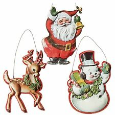 Set/3 RAZ Metal Santa Snowman Deer Vntg Retro Decor Christmas Tree Ornaments