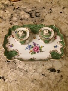 Antique S P 1902 Dresden Germany Complete Inkwell Set Green Pink Flowers Gold