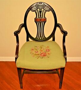Antique Inlaid Bellflower Mahogany Georgian Hepplewhite Needlepoint Accent Chair