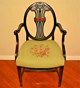 Antique Inlaid Bellflower Mahogany Georgian Hepplewhite Needlepoint Accent Chair