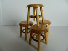 (H1.28) DOLLS HOUSE PACK OF FOUR WOODEN PINE COLOURED STOOLS