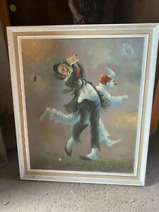 "Vintage Original Oil Painting Clown Playing Golf Framed J Norman 23x27"" 59x69cm"