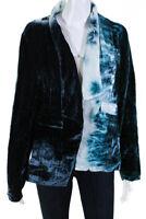 Chaser Womens Velvet Tie Dye Open Front Blazer Jacket Blue White Size Medium